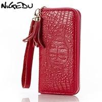 Fashion Crocodile Grain Women Wallet Genuine Leather Long Zipper Wallets Clutch Purses Ladies Purse Female Free