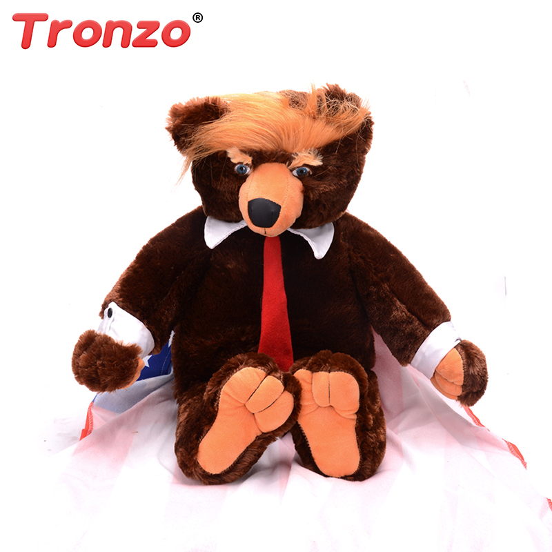 Tronzo 1Pcs 60cm Donald Trump Bear Plush Toys New Cool USA President Bear With Flag Cloak Collection Doll Gift For Children Boy presidential donald trump doll shaking head toys car oranment toy for kids