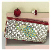 100 Genuine Leather Long Wallet Women Luxury Designer Rhinestone Phoenix Crocodile Print Clutch Bag Ladies Elegant