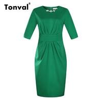 Tonval Women 5XL 6XL Plus Size Work Dress 2017 Summer Peplum Ruched Office Dresses Elegant Bodycon