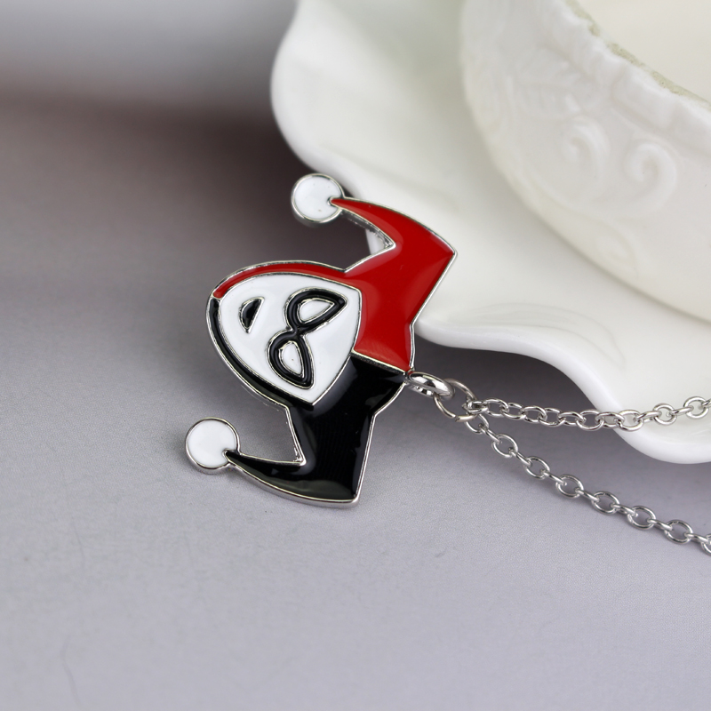 dongsheng FashionMovie Suicide Squad Girls Quinn Red & Black Pendant Necklace Halloween Christmas Collier Cosplay Jewelry-30