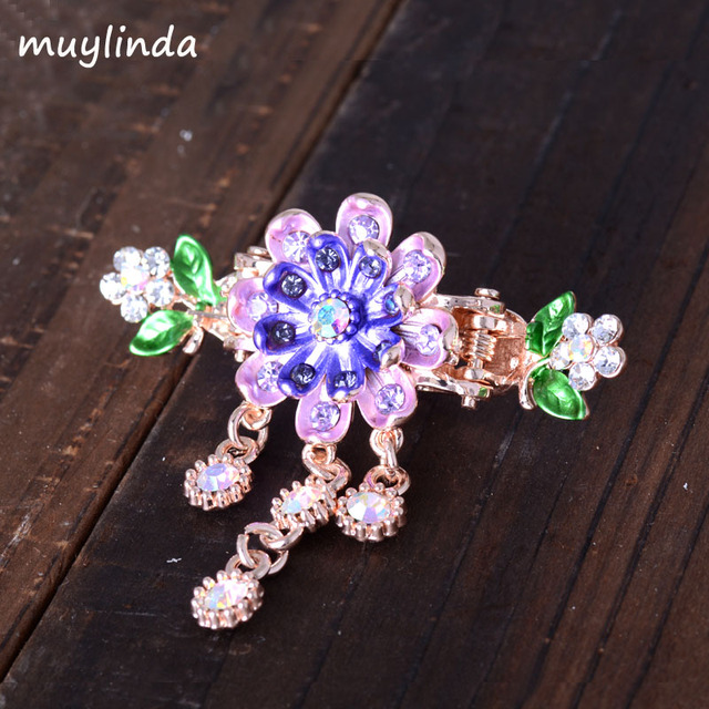 Vintage Flower Hair Claw Crab Jewelry Charm Rhinestone Hair Pin Clip For Women  Hair Accessories e432e9ff77ee
