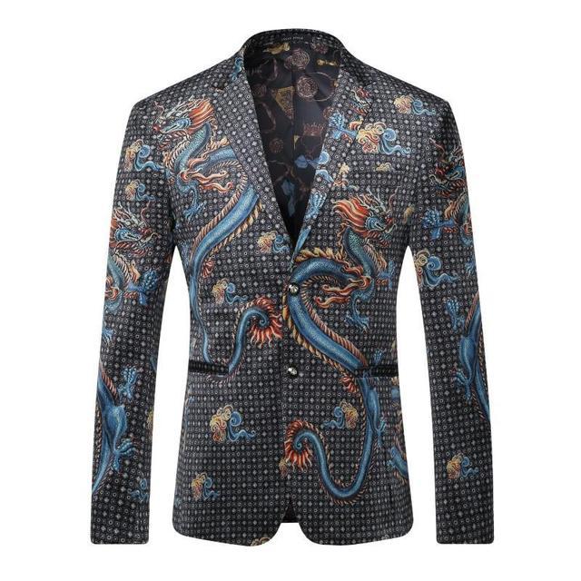 Chaqueta de Los Hombres 2017 de la Marca de Lujo Para Hombre de Impresión Dragón chino Partido de la Etapa de Traje Chaqueta Blazer Masculino Casual Slim Fit Traje Homme
