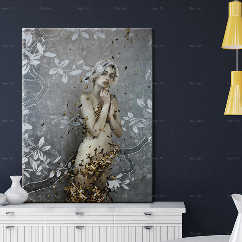 Frameless printing beauty figure painting posters and prints landscape abstract canvas Wall art pictures for living room