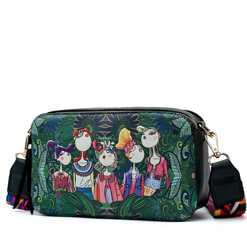 Women Bag Brand Luxury Design Handbag 2018 Green Forest Series Shoulder Bags Small Handbags Cartoon Print Messenger Bags Ladies