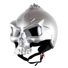 DOT Approval Harley Motorcycle Helmet Casco Skull Sector Double Lens Open Face Capacetes Soman 689