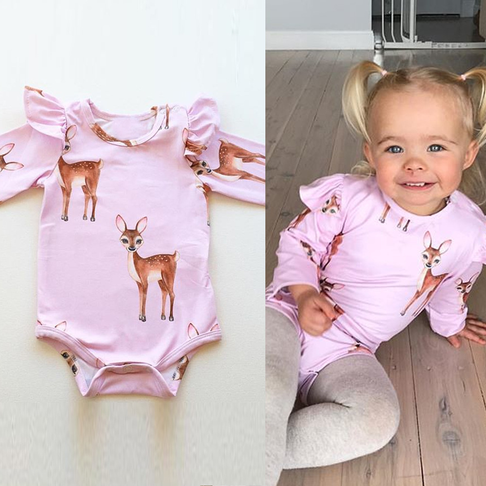 Newborn Baby Girl Clothes 2018 Tiny Cottons Autumn Long Sleeve Sika deer Jumpsuit Bodysuit Toddler Girls Clothing Baby Onesie