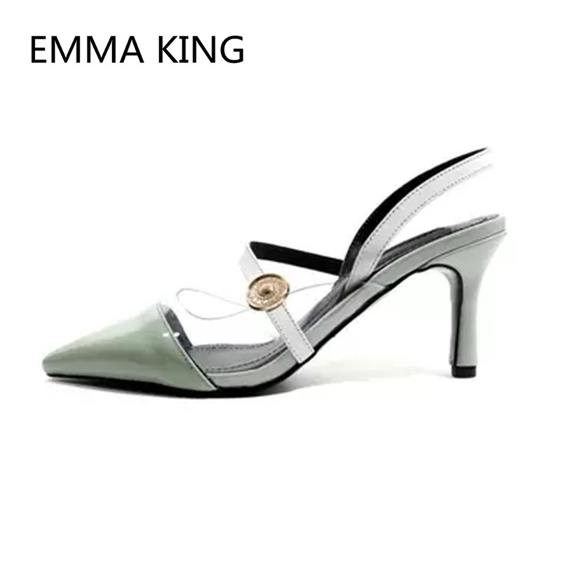 Brown Vintage Leather Women's Pumps Pointed Toe Slip On Ladies PVC Transparent Slingbacks Shoes Woman Sexy Thin High Heels Pump - 6