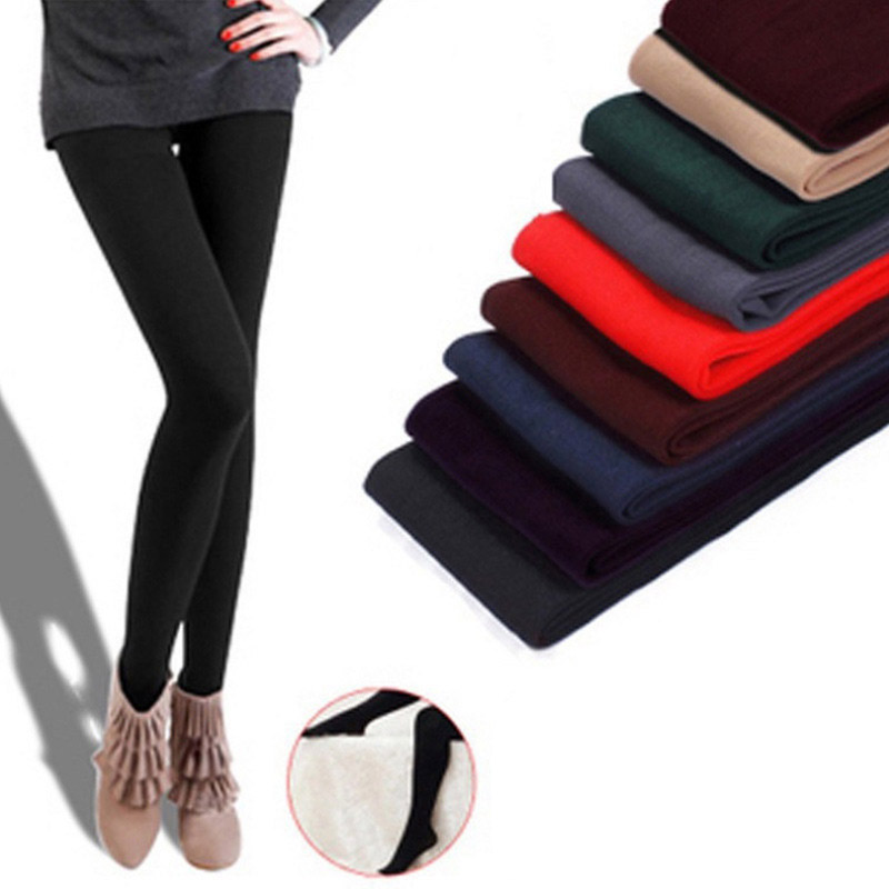 Women Autumn Winter Solid High Elasticity Thick Warm Tight Pants H9