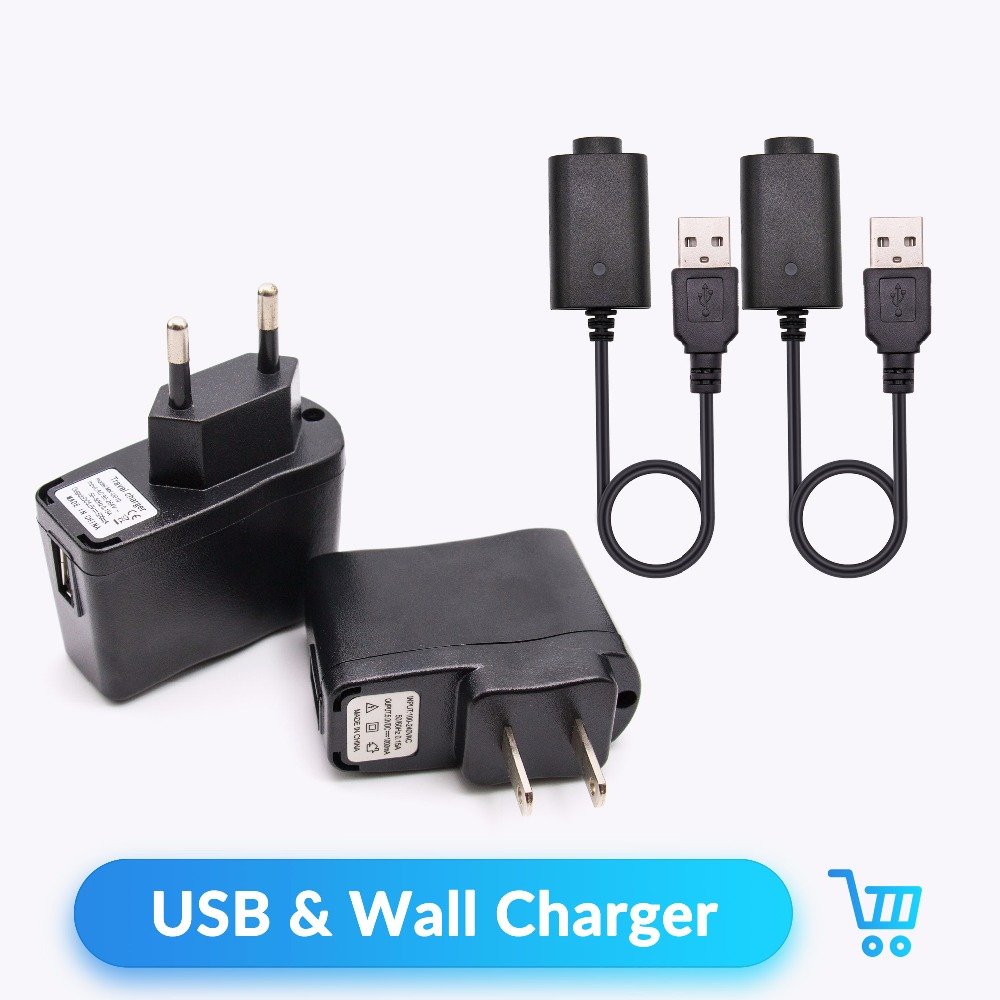 Quartz Banger USB Cable&Wall Charger for EGO/EVOD Battery Electronic Cigarette Accessories US EU Standard for EGO EVOD Kit