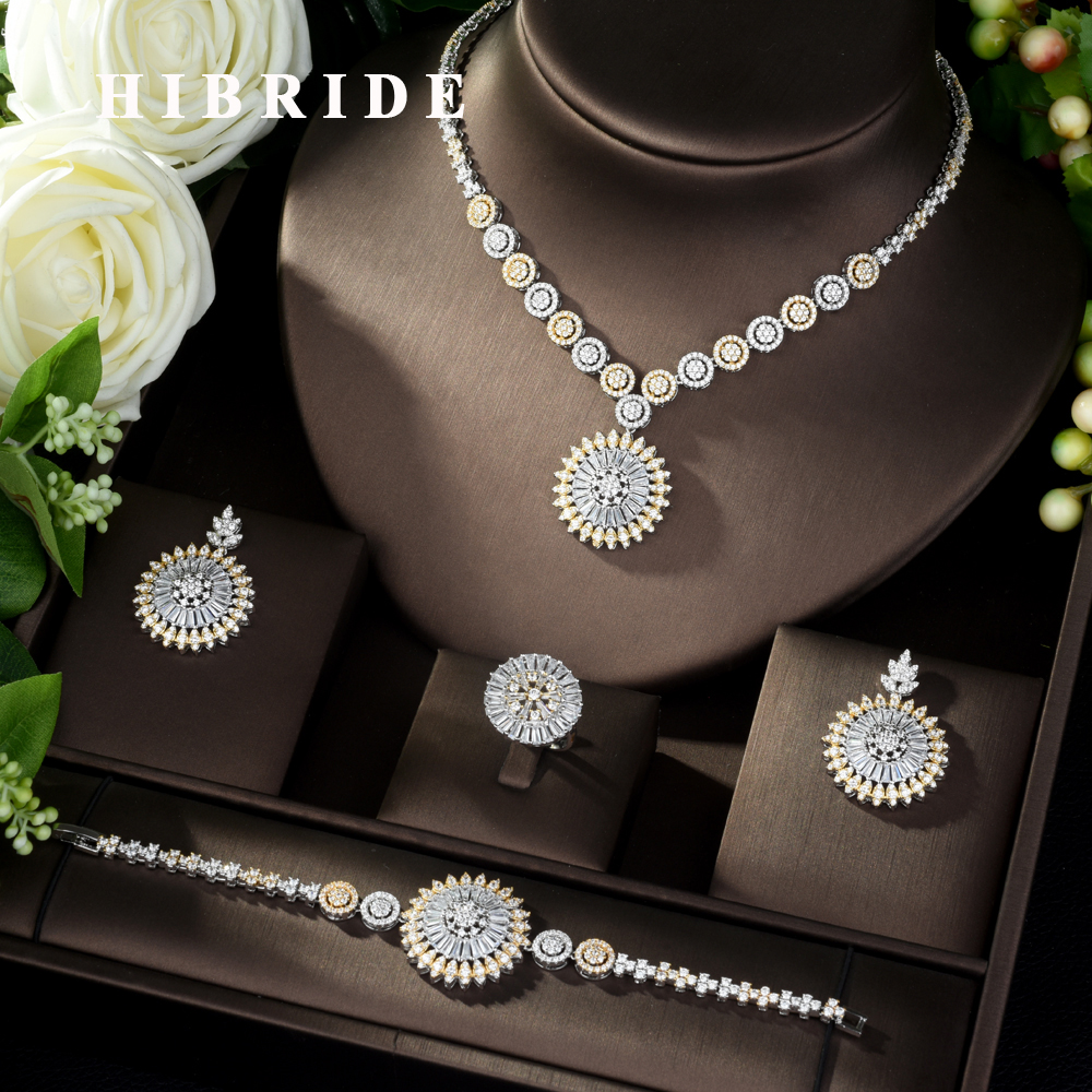 HIBRIDE Hot-sale African 4pcs Bridal Jewelry Sets New Fashion Dubai Jewelry Set for Women Wedding Party Accessories Design N-974HIBRIDE Hot-sale African 4pcs Bridal Jewelry Sets New Fashion Dubai Jewelry Set for Women Wedding Party Accessories Design N-974