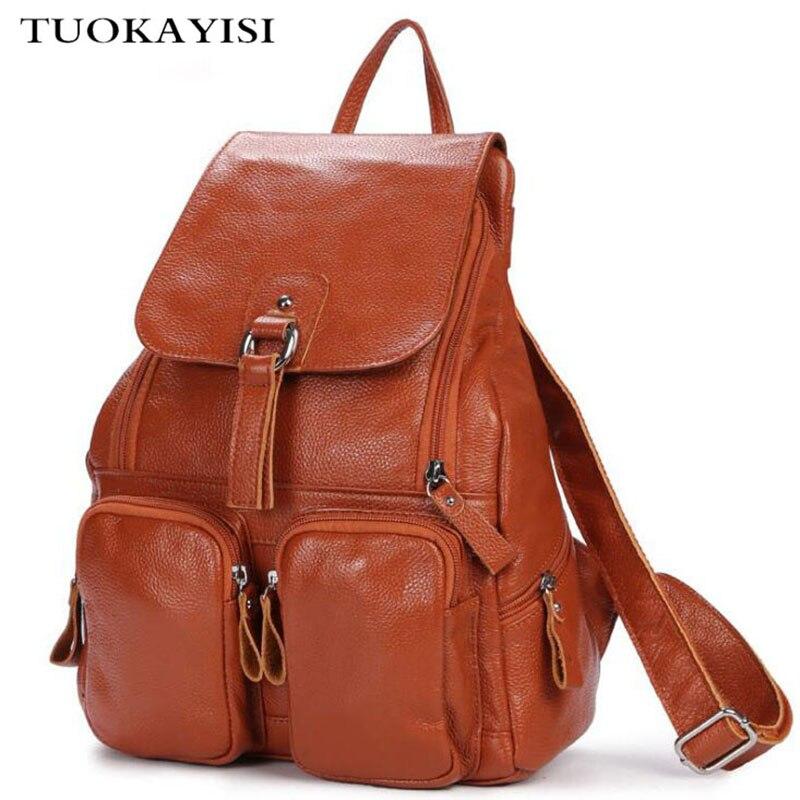Black Genuine Leather Backpack Women Multifunction large capacity Travel Bag Fashion New Female Rucksack Shoulder bag Mochila