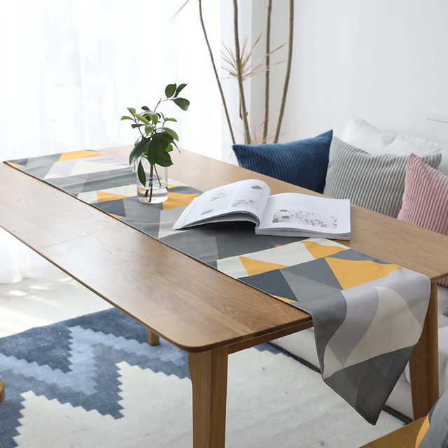 Colorful Geometric Printed Living Room Coffee Table Runner Nordic Home Decoration Blue Yellow