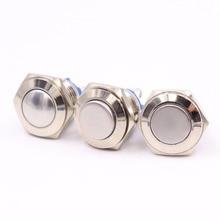 16mm Metal Push Button Switch IP67 Waterproof Nickel plated brass press button Self-reset 1NO High/Flat/Shape Round