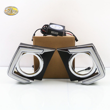 SNCN Led Daytime Running Lights For Mitsubishi Triton L200 2015 2016 Fog lamp cover 12V ABS DRL sncn led fog lamp for ford fiesta 2009 2016 with daytime running lights drl 12v high brightness