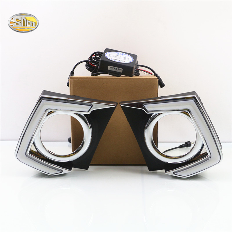 SNCN Led Daytime Running Lights For Mitsubishi Triton L200 2015 2016 Fog lamp cover 12V ABS DRL