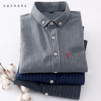 U SHARK Cotton Flannel Men Casual Shirt Long Sleeve Slim Fit Stripe Shirt Male 2018 Spring
