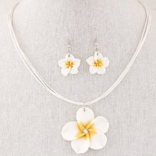 Soft Pottery Hawaii Plumeria Flowers Rhinestone Pendant Necklace Earrings Charm Jewelry Set For Women(rose red)(China)
