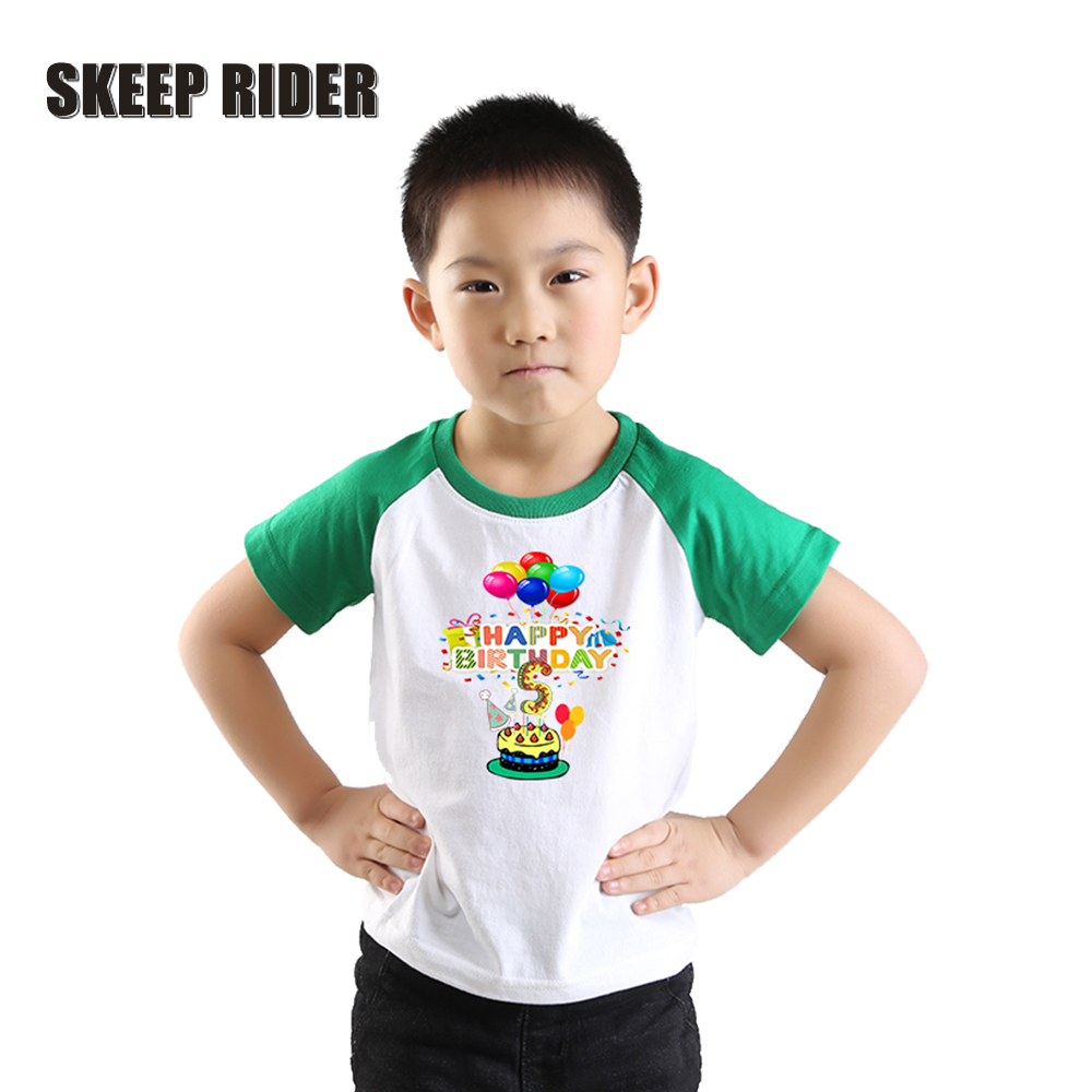 Boys Shirts 2nd-Birthday 4T Short-Sleeve Numbers Kids Tee Letter-Print Toddler Cotton