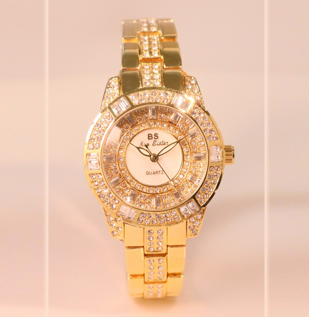 New Arrivals Famous Brand BS Full Diamond Quartz Watch Lady Shinning Dress Watch Bling Crystal Bangle Women Bracelet Watches famous brand full diamond luxury women watch lady dress watch rhinestone bling crystal bangle watches female reloj mujer