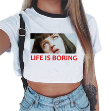 LIFE IS BORING Pulp Fiction Vest Top 2018 Fashion Style New Women Slim Crop Top White Short Sleeve O-Neck Shirt Tank Tops Tees(China)
