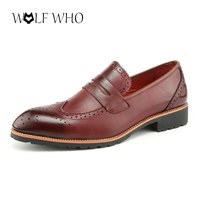 WolfWho High Quality Leather Men Shoes Brogues Slip On Bullock Business Oxfords Shoes Men Dress Shoes