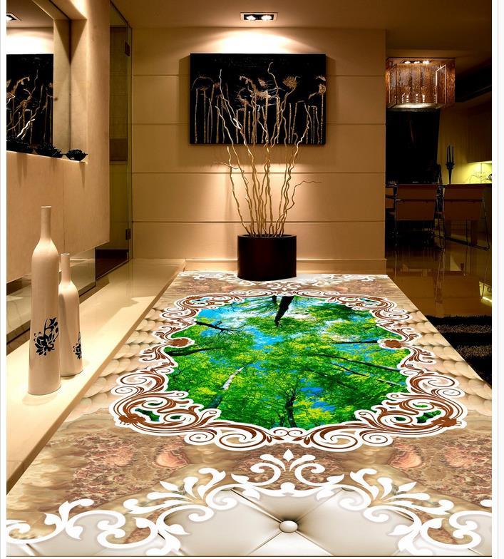 Custom photo floor wallpaper 3d forest marble Waterproof floor mural painting Custom Photo self-adhesive 3D floor