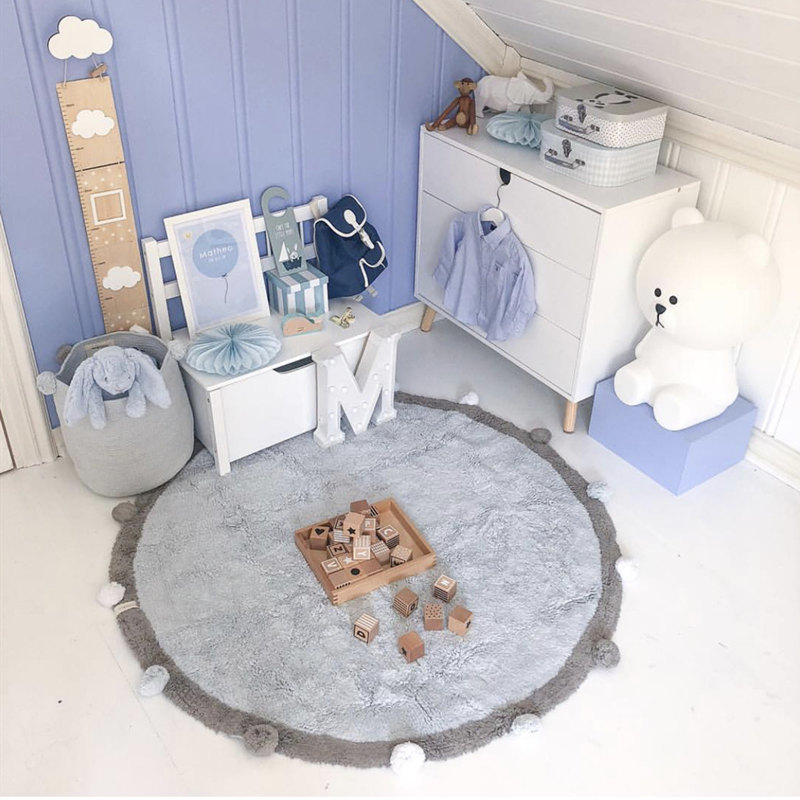 Baby Hair Ball Play Mat Children's Crawl Game Mat Round Carpet Soft Comfortable Mat Round Kids Rug Children Room Decoration