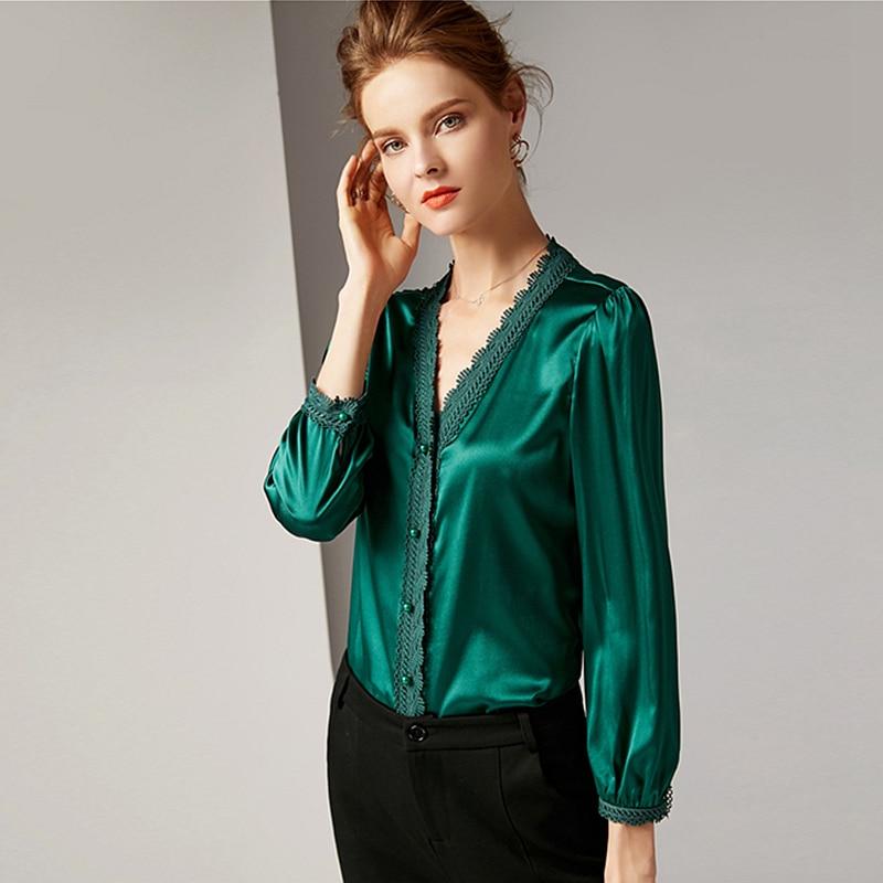 Blouse Women Shirt 95 Silk Vintage Design Lace V Neck Nine Quarter Sleeves 3 Colors Elegant