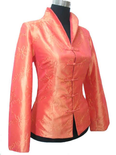 送料無料ファッションレディースオレンジスジャケットコートアウター中国の伝統唐のスーツのサイズ XXL XXXL 003