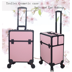 Portable Professional Trolley Kosmetische fall Tasche Koffer Für Make-Up mit räder Große Kapazität Frauen Box Nägel Schönheit Gepäck