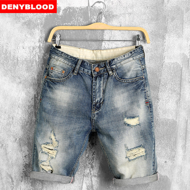 60a405d75 2016 Pantalones Cortos de Los Hombres de Moda Casual Para Hombre Pantalones  Cortos de Jean Cotton Straight Ripped Diseñador Bermudas Homme Para ...