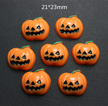 10pcs Cute Halloween pumpkin for Party Resin Cabochon Flatbacks Crafts for DIY Holiday Craft Making,21*23mm(China)