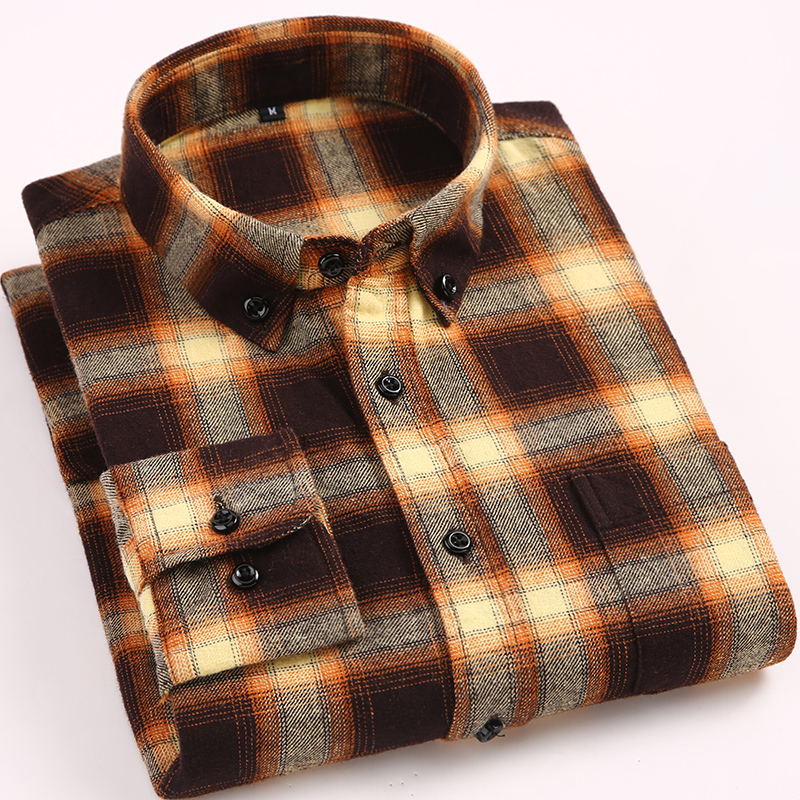 Men's Stylish Long Sleeve Plaid Brushed Shirt Patch Single Pocket Standard-fit Button-down Casual Checkered Cotton Shirts