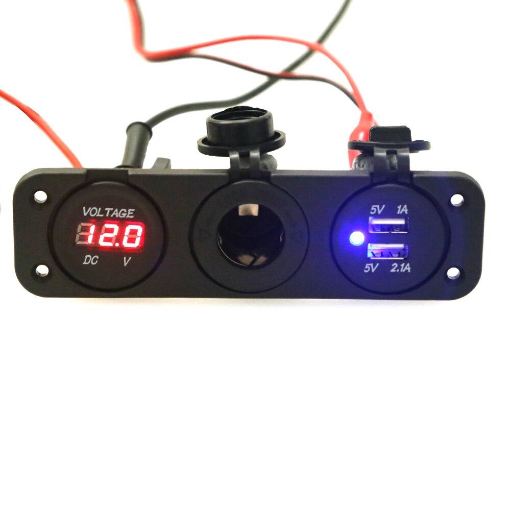 12V Dual USB Auto Car Cigarette Lighter Socket Splitter DC 5V 2.1A Power Adapter Charger For IPhone Digital Voltmeter Display