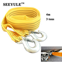 1pc SEEYULE Heavy Duty Car Towing Rope 4m 3 Tons Emergency Helper Trailer Pull Towing Bar