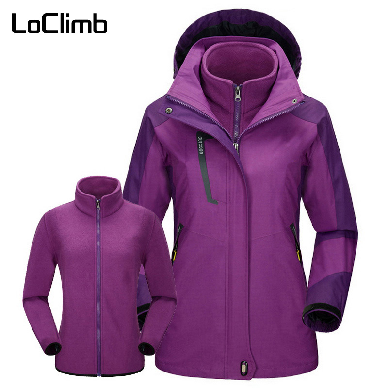 LoClimb Women's Winter 3 In 1 Windbreaker Outdoor Hiking Jacket Women Waterproof Coat Camping Trekking Ski Fleece Jackets AW203