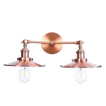Vintage Tarzı Duvar Lambası Kırmızı Bronz 2-ışıkları Endüstriyel Bronz Duvar Aplik E27 Metal Gölge Makyaj Lambası Banyo Aynası Aydınlatma