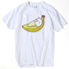 df4e07c0d New Japan Anime Bananya cosplay t-shirt Bananas Cat lurking in bananas men  tshirt summer Tees Tops