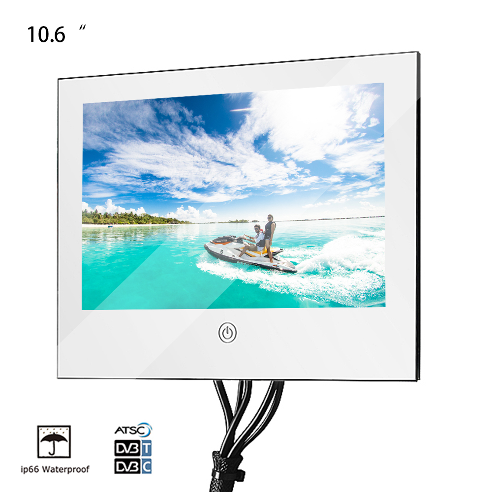 Souria 10.6 pouces miroir verre USB TV salle de bain IP66 LED étanche télévision de luxe petit écran hôtel TV