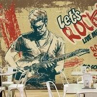 Foto sfondo personalizzato Retrò 3D murale rock guitar musica rock roll ristorante wallpaper soggiorno murale