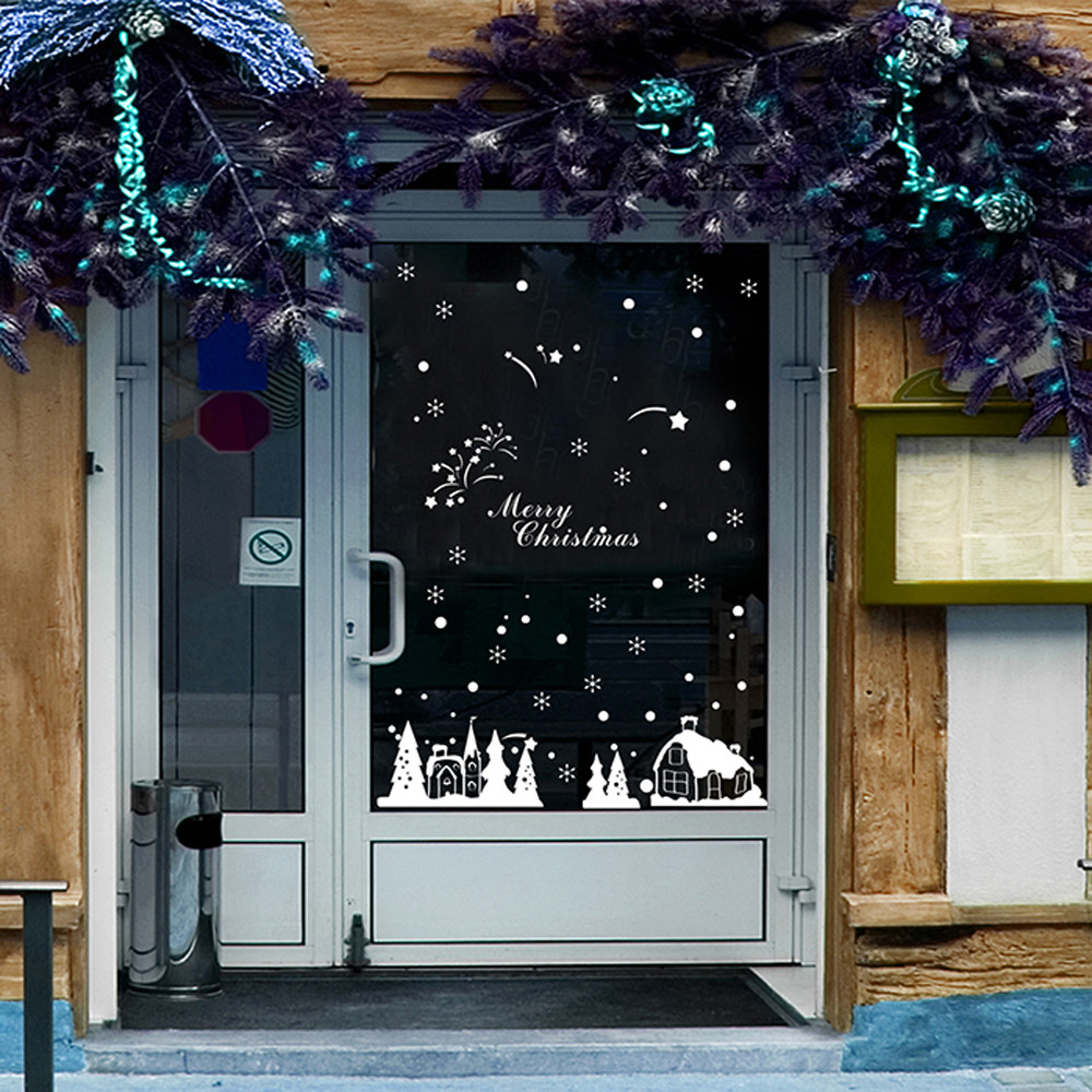 popular sticker shop buy cheap sticker shop lots from china wall sticker white frozen snowflakes vinyl art decal christmas window sticker diy home wall shops malls