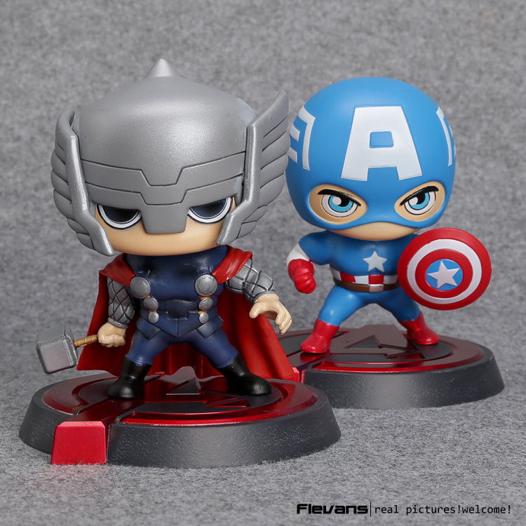 Avengers Captain America Thor Bobblehead PVC Action Figure Collectible Model Toy HRFG478 14cm pvc movable avengers union captain america thor action figure car furnishing articles model holiday gifts children s toys