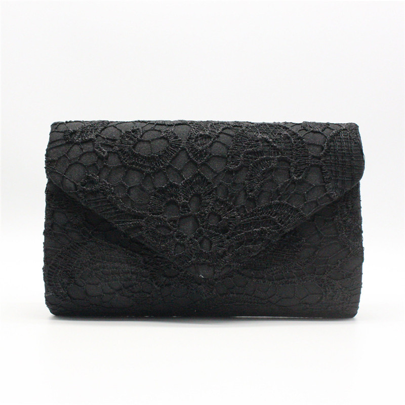 Envelope Clutches Handbag Chain-Shoulder-Bag Evening-Bag Lace Wedding-Floral Girls Women title=