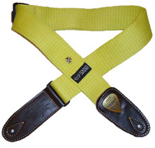 Soldiers 1.96 inches wide and thick cotton adjustable with metal ornaments folk guitar electric guitar strap 1303A-Yellow