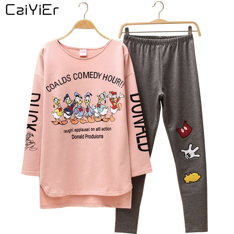 Caiyier Round Neck Cartoon Mouse   Pajamas     Set   Pink Long Sleeve Cotton Cute Casual Sleepwear Autumn Homewear For Women Pyjamas DN1