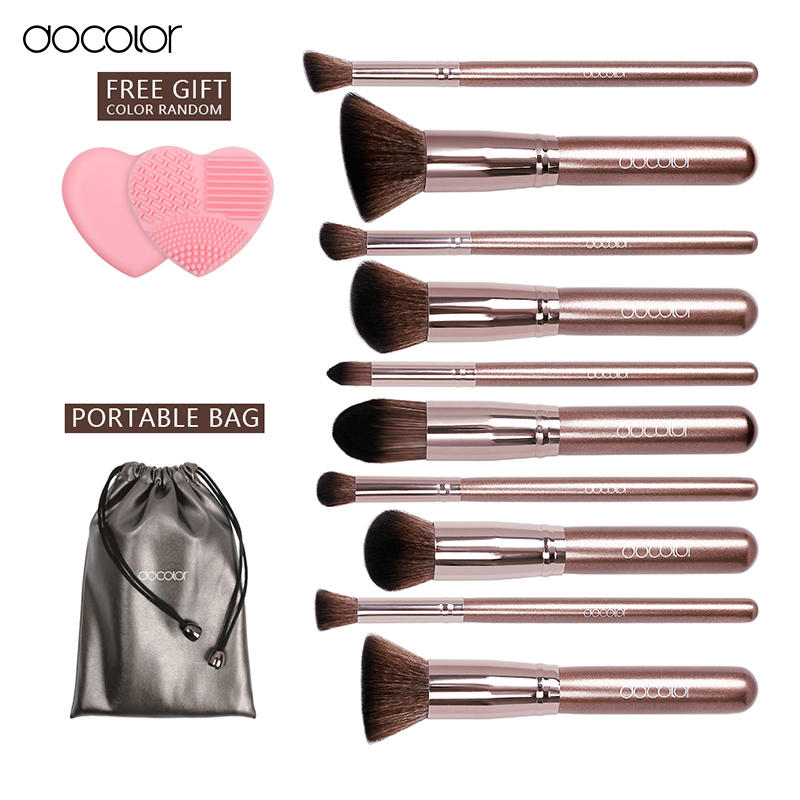 Docolor 10Pcs Makeup Brush Sets Tools Cosmetic Brush Foundation Eyeshadow Eyeliner Lip Powder Brush Pinceau Maquillage