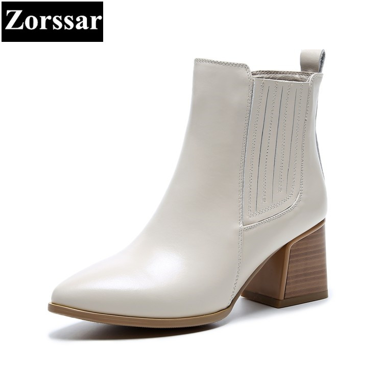 {Zorssar} Brand 2018 NEW Fashion Women Boots High heels pointed Toe Thick Heel ankle equestrian boots womens shoes winter boots zorssar brands 2018 new arrival fashion women shoes thick heel zipper ankle chelsea boots square toe high heels womens boots