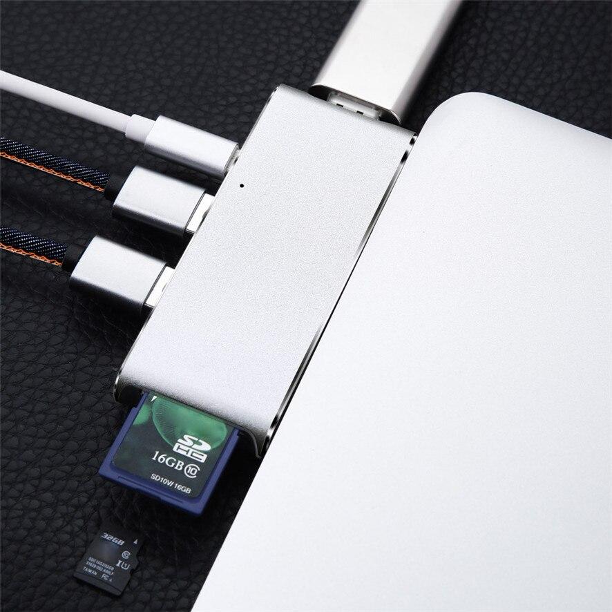 Best Price USB C Hub Aluminum Multi-Port Adapter HDMI Output For MacBook Google Chromebook