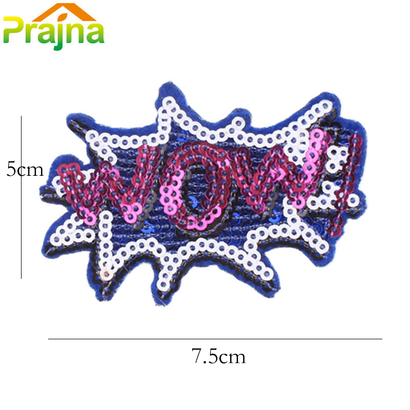710fd908d 6 Design Letter WOW Patch Stickers Cartoon Embroidered Patches For ...